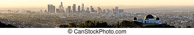 Long Panoramic View of The Hills and Observatory in LA