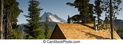 Long Panoramic View of Trees Amoung Cabin Rooftops Around Olallie Lake Near Mount Jefferson Oregon State North America
