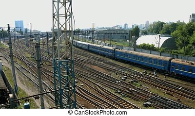 Long passenger train. - Long passenger train arrives at the...