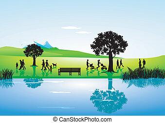 long, paysage rivière