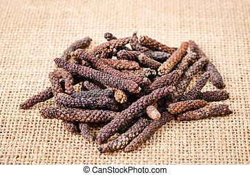Long pepper or Piper longum. - Long pepper or Piper longum...