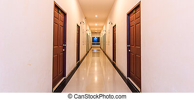 long, perspective, couloir, hôtel