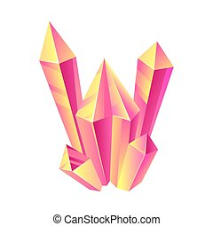 Long pink crystals. Vector illustration on a white background.