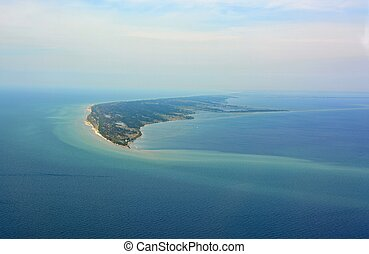aerial view towards Long Point, a sand spit and medium-sized hamlet on the north shore of Lake Erie, part of Norfolk County in Ontario, Canada