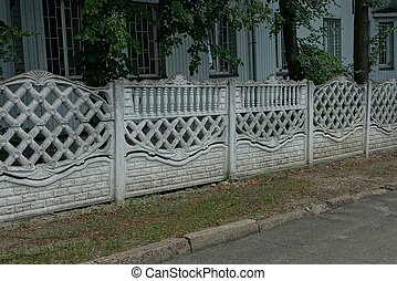 long private concrete gray white fence