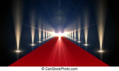 long, projecteurs, moquette rouge