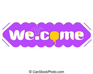 Long purple banner with the word welcome
