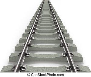Long Rails Textured - Long 3D rails going to horizon