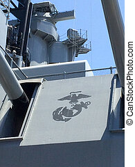 Long range navy guns and turret with US Marine Corps logo