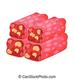 Long rectangular pieces of red nougat. Vector illustration ...