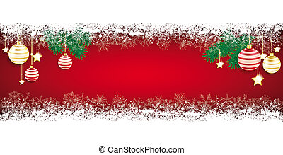 Long Red Baubles Christmas Card Snowflakes