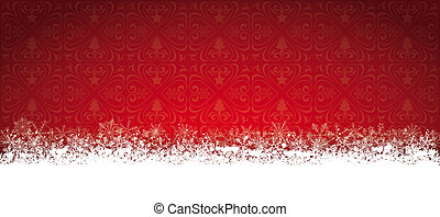 Long Red Christmas Card Snowflakes
