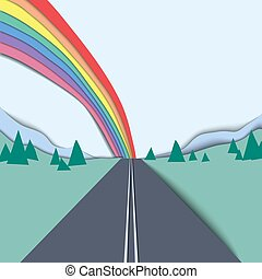 Long road and rainbow over the mountain and sky landscape, paper cutting style