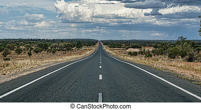long road to nowhere - wide angle panoramic image of a long...