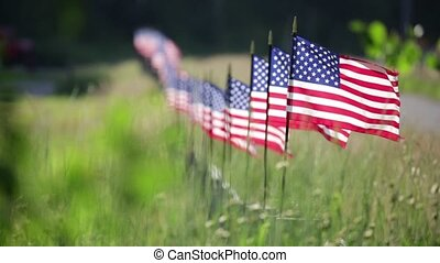 Row of American Flags On Fence Waving in the Wind - Long Row...