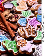 Long row of glazed cookies.