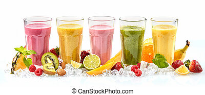 Row of five tropical fruit drinks in tall glasses next to strawberries raspberries and cut lime mango and kiwi standing in a bed of crushed ice