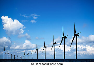Long row of windmills
