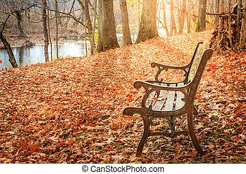 long, ruisseau, ruelle, automne