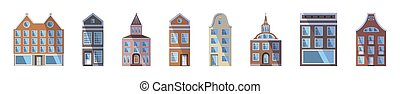 Long set of European colored old houses, shops and factories in the traditional Dutch town style. Vector illustration in the flat style isolated on a white background. Design elements for a banner.