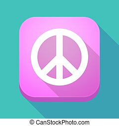 Long shadow app button with a peace sign