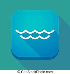 Long shadow app button with a water sign
