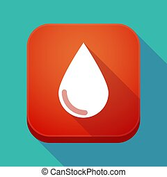 Long shadow app icon with a blood drop
