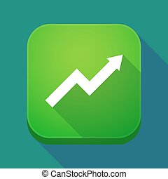 Long shadow app icon with a graph