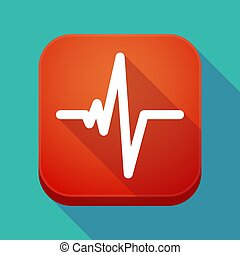 Long shadow app icon with a heart beat sign