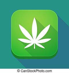 Long shadow app icon with a marijuana leaf