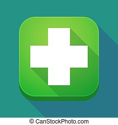 Long shadow app icon with a pharmacy sign