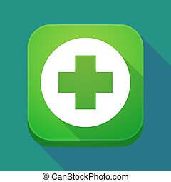 Long shadow app icon with a round pharmacy sign