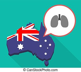 Long shadow Australia map with a healthy human lung icon