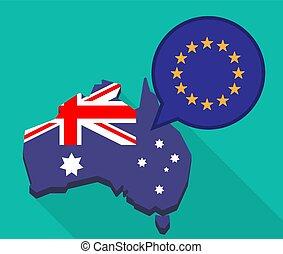 Long shadow Australia map with  the EU flag stars