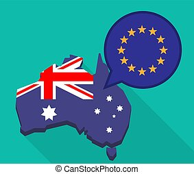 Long shadow Australia map with  the EU flag stars