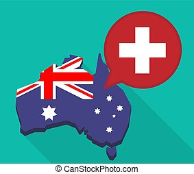 Long shadow Australia map with   the Swiss flag