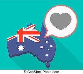 Long shadow Australia mmap with a heart