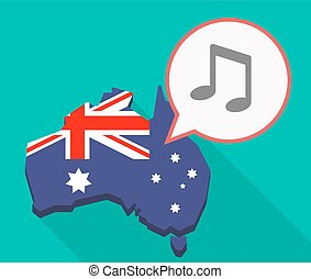 Long shadow Australia mmap with a note music