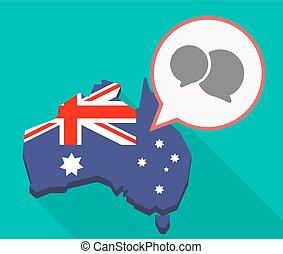 Long shadow Australia mmap with comic balloons