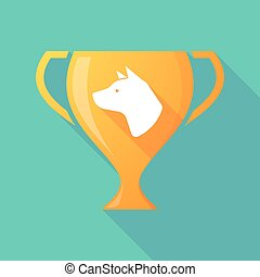 Long shadow award cup icon with  a dog head