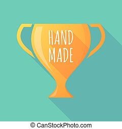 Long shadow award cup with the text HAND MADE