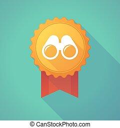 Long shadow badge icon with a binoculars