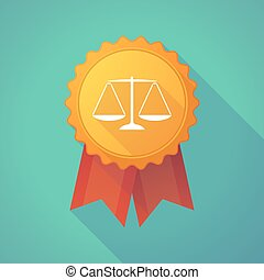 Long shadow badge icon with a justice weight scale sign