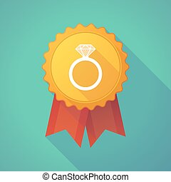 Illustration of a long shadow badge icon with an engagement ring