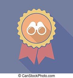 Long shadow badge with a binoculars