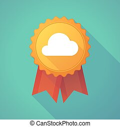 Long shadow badge with a cloud