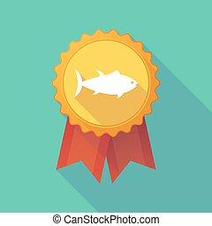 Long shadow badge with  a tuna fish