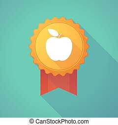 Long shadow badge with an apple