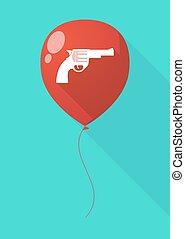 Long shadow balloon with a gun