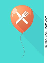 Long shadow balloon with a knife and a fork